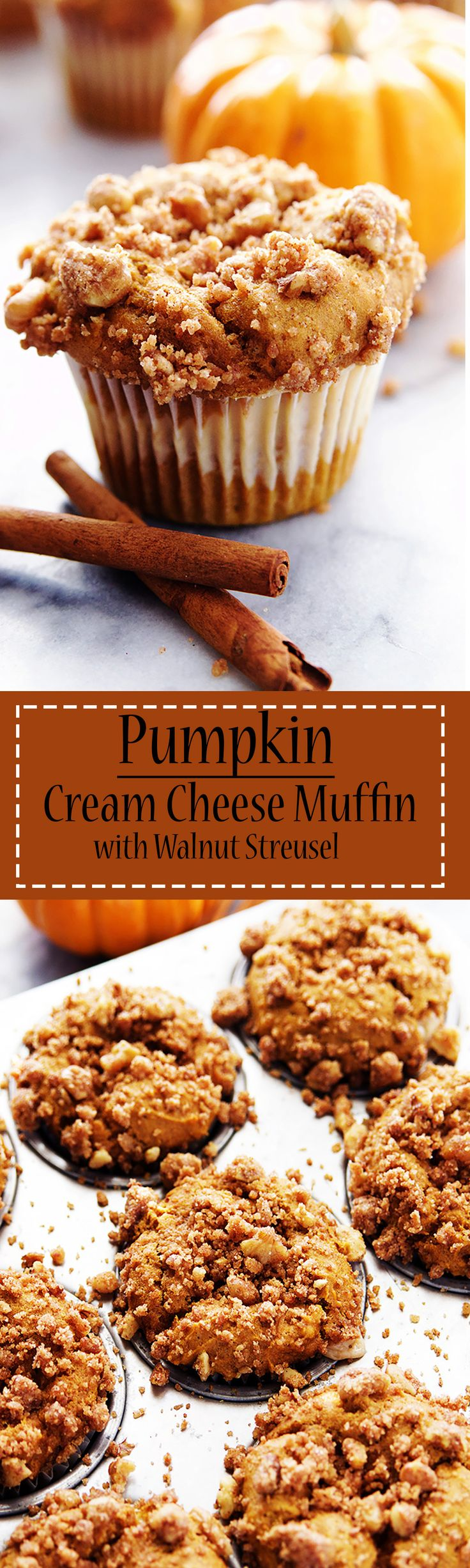 My cup runneth over with pumpkin, with these moist, cakey Pumpkin and Cream Cheese Muffins dusted with warm walnut streusel