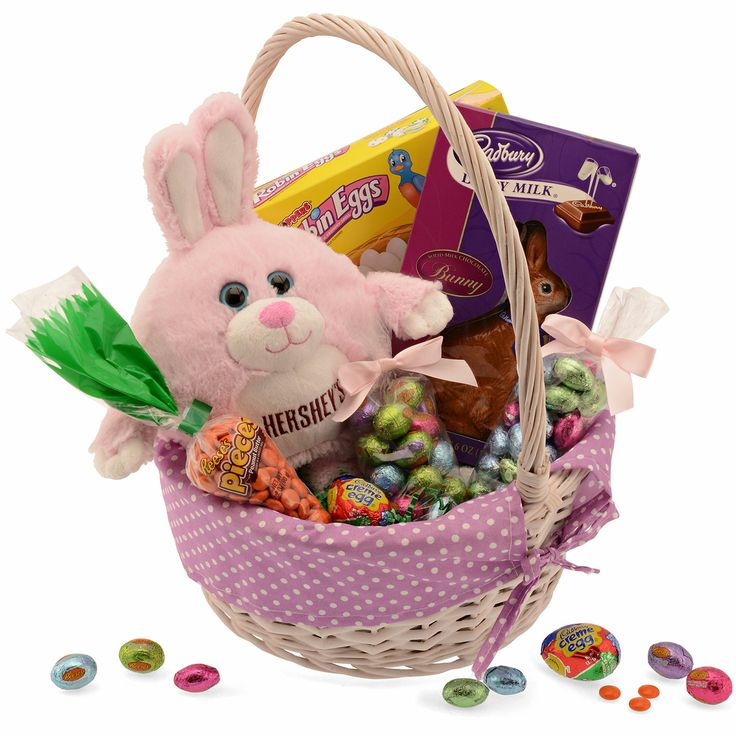 46 best easter eggs and gift hampers images on pinterest easter large easter basket purple its easter in a single package a white woven negle Images