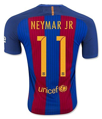 FS Barcelona Messi Neymar Suarez Home Kid Soccer Jersey & Matching Shorts (Latest Season) (Youth L (for age 10-12), #11 Neymar Jr)