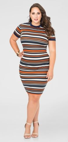 Plus Size Striped Bodycon Dress