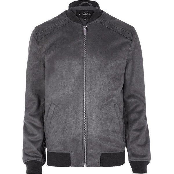 River Island Grey faux suede bomber jacket ($78) ❤ liked on Polyvore featuring men's fashion, men's clothing, men's outerwear, men's jackets, grey, jackets, mens grey jacket, mens grey bomber jacket, mens faux suede jacket and mens gray leather jacket
