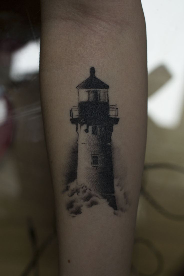 Lighthouse tattoo, realistic #blackandwhite