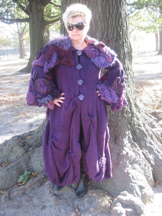 Handknitted Long  purple coatjacketsweater by KnittingbyScarlatto, $650.00