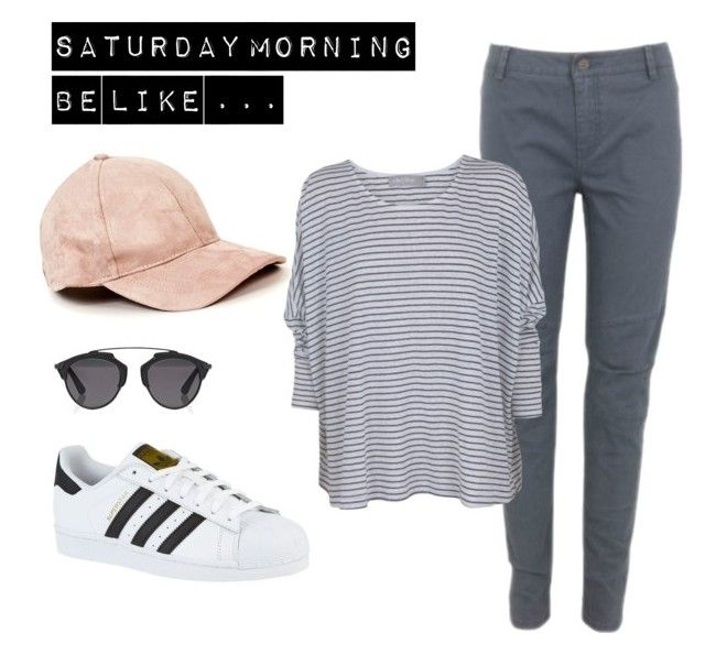 Saturday mornings be like  by gayel-stewart-airs on Polyvore featuring polyvore, fashion, style, adidas, Christian Dior and clothing