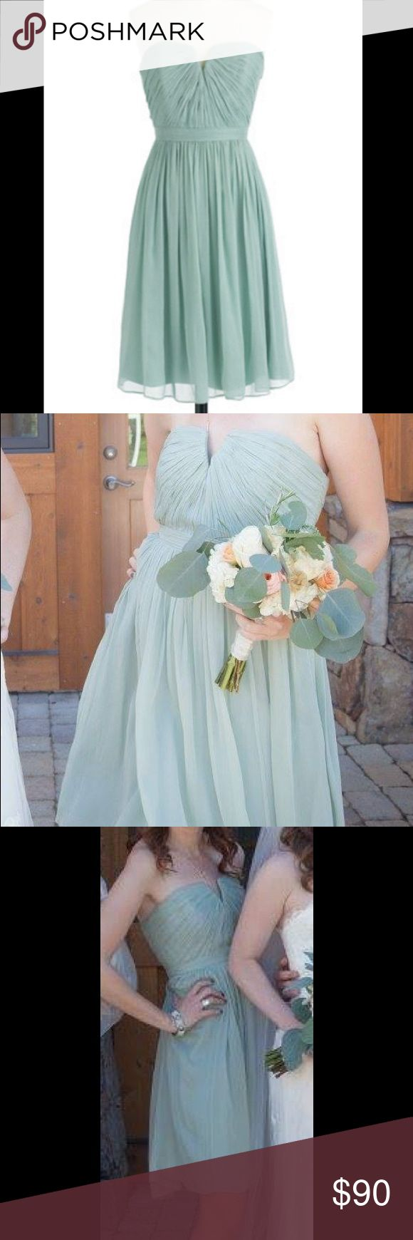 J Crew Nadia bridesmaid dress in dusty shale J Crew bridesmaid dress in dusty shale. Strapless style dress. Made with silk chiffon. A line silhouette. Interior has an attached corset for added support. Worn once for a wedding. J. Crew Dresses