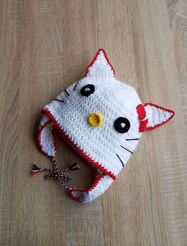 11 Caciulita Hello Kitty Pisica Pisicuta caciula crosetata stoc fes cu urechi copii copil alb Kiko