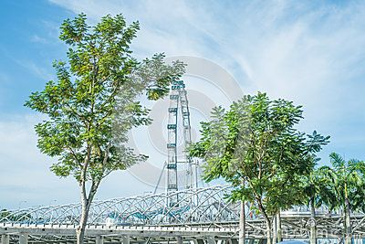 The Helix Bridge, one of the landmarks featured at Marina Bay Waterfront in Singapore. The spinning profile of the Singapore Flyer is visible in the distance.