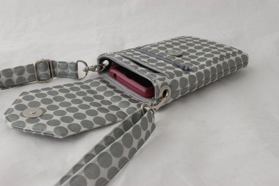 Cell phone bag - mobile phone bag with zipper pocket - small crossbody purse - side bag - small shoulder bag MADE to ORDER