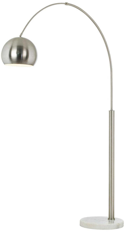 basque steel and brushed nickel arc floor lamp. Black Bedroom Furniture Sets. Home Design Ideas