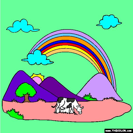 Rainbow and Cow Pasture Online Coloring Page