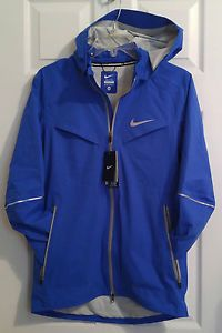 46ddab2d3b86 NEW Nike Running Reflective Rain Jacket Mens XS Blue Waterproof Jogging  616222