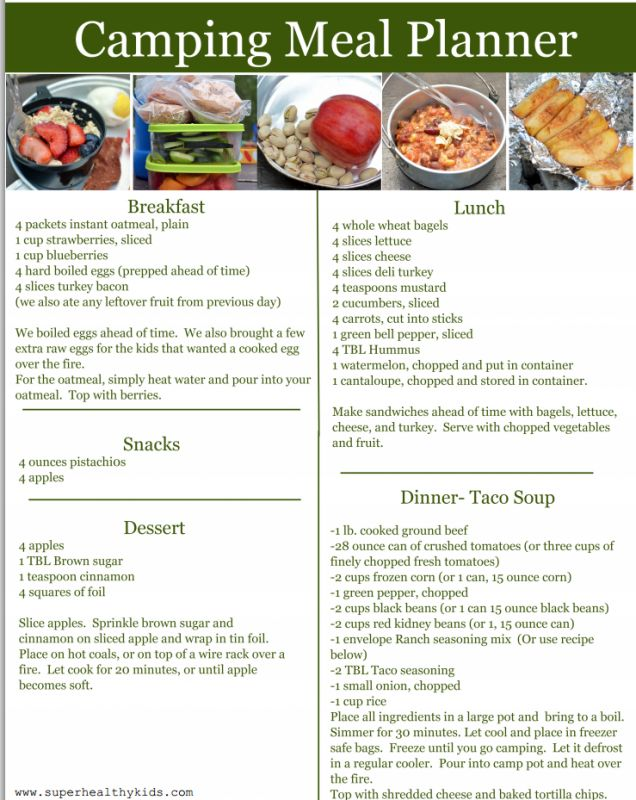 actually really good healthy easy ideas for camping food for a family!!  camping meal planner