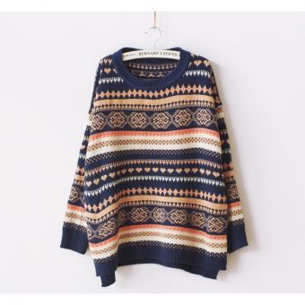 Suéter Casual Manga Larga Pullover Tribal para Mujer-Multicolor