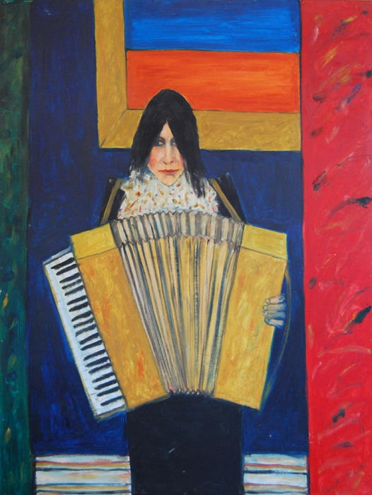 Helen with Accordion, oil on board, John Bellany - The Scottish Gallery, Edinburgh - Contemporary Art Since 1842