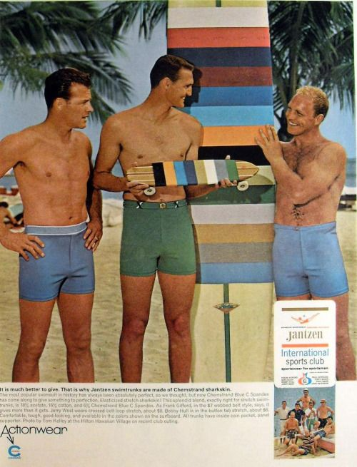 Frank Gifford, Jantzen Swimwear (with Jerry West and Bobby Hull) (c.1966)  Source