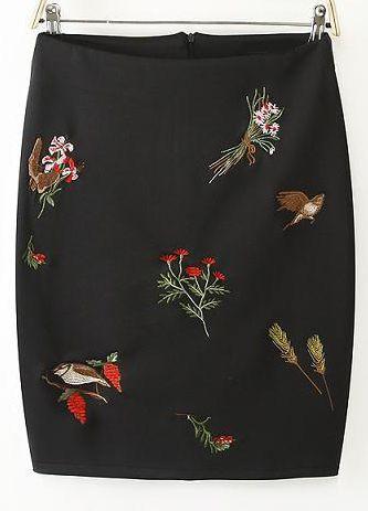 Embroidered Floral Pattern Black Skirt