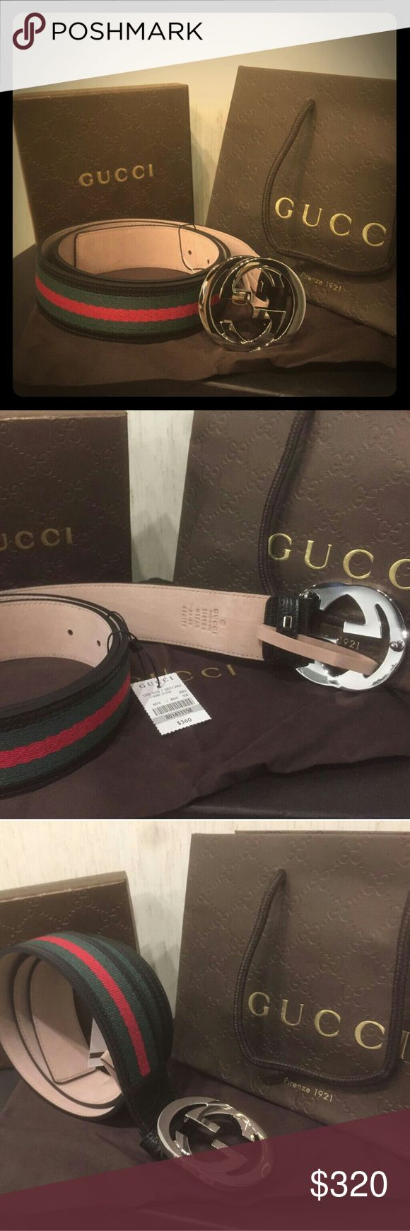 New Gucci Black Green Red signature monogram belt New 100 percent Authentic Gucci black green red signature monogram belt!! I have multiple sizes in stock. Has a silver buckle comes with Gucci box, dust bag and tags. Ships out within one business day of purchase, message me if you have any questions. Price is firm reasonable offers will be taken, but only if reasonable! Gucci Accessories Belts