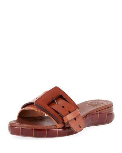 f55163c47287 Chloe Willy Leather Buckle Slide Sandals
