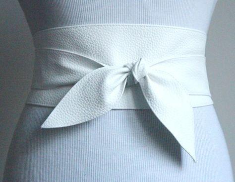 White Leather Obi Belt tulip tie Waist or Hip Belt  by LoveYaaYaa