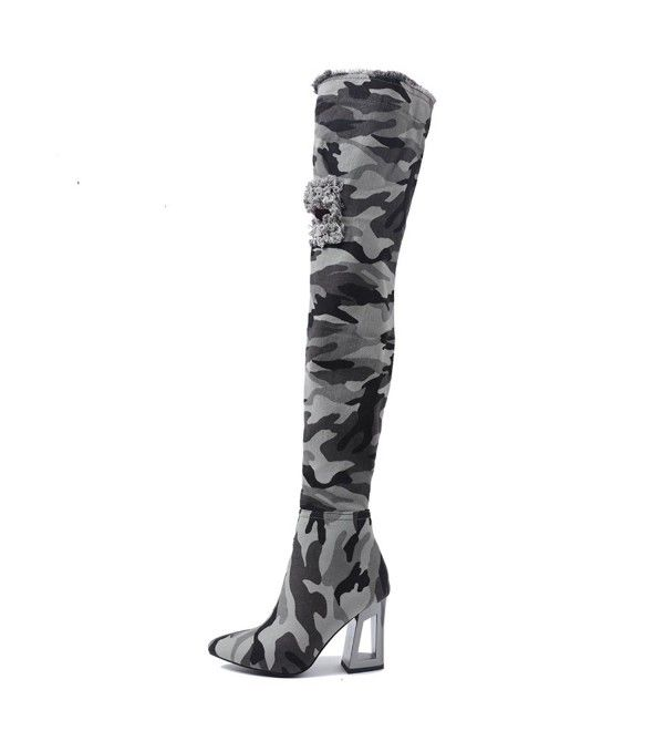 New Women Cape Robbin Abril-1 Patent PU Thigh High Lace Up Chunky Heel Boot