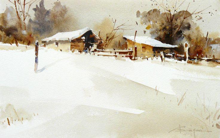 Corneliu Drăgan -Târgovişte - Peisaj de iarnă / Winter view, 28 x 17 cm, acuarelă / watercolour