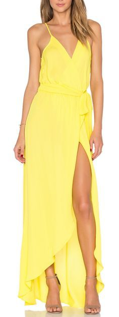 Bright yellow maxi dress