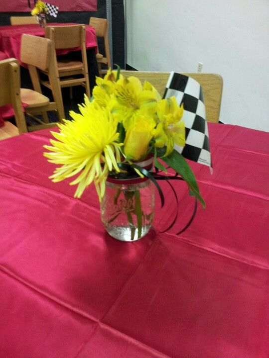 Car Theme Flower Centerpiece Racing Inspired Event
