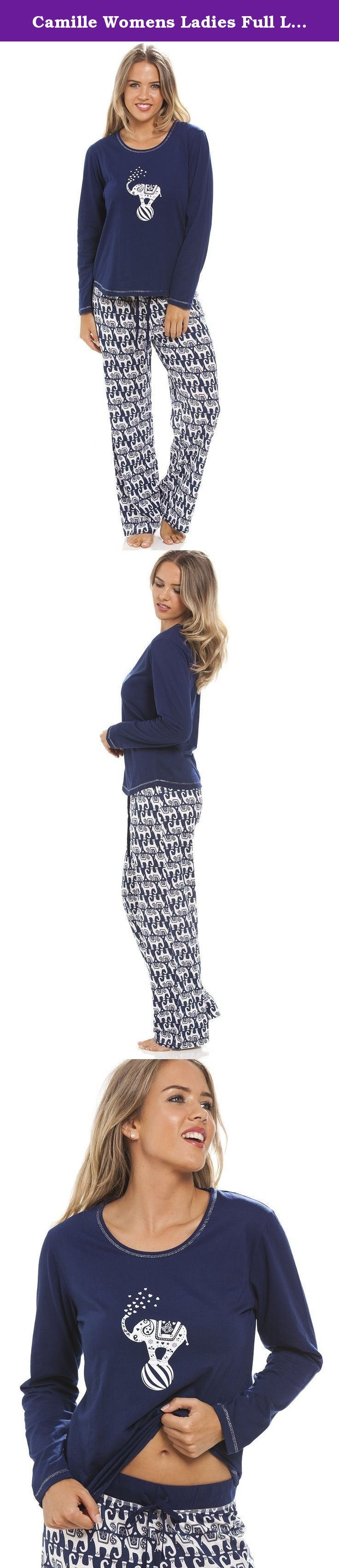 Camille Womens Ladies Full Length Long Sleeve Elephant Motif Navy Blue Pyjama Set 14/16 BLUE. Long Sleeve Nightdress Also Available In Same Design.