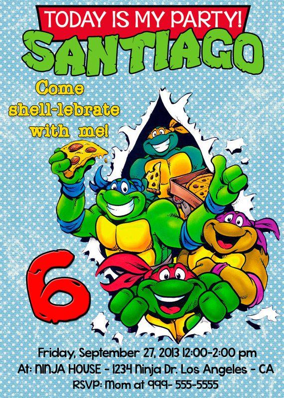 Las Tortugas Ninja Invitación Cumpleaños                                                                                                                                                     Más
