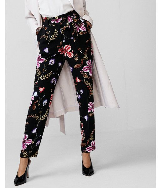 99b4ca3c1658 High Waisted Floral Tie Waist Ankle Pant Black Women s 00 Short ...