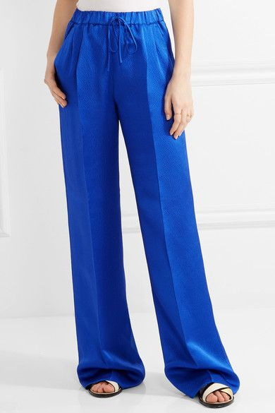 Max Mara - Vortice Hammered Silk-satin Wide-leg Pants - Bright blue - UK18