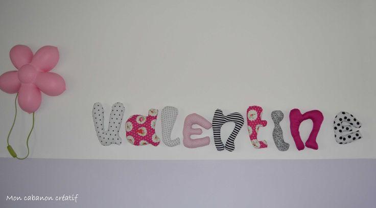Prénom ou mot en tissus 9 lettres rembourrées façon coussins exemple Valentine : Jeux, peluches, doudous par mon-cabanon-creatif