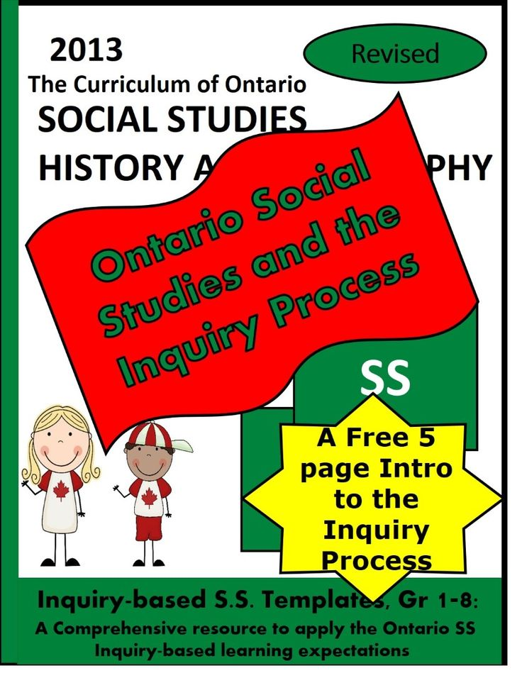 5 FREE ORGANIZERS as intro to the resource: Ontario (English) Social Studies and the Inquiry Process, Grades 1-8, Free.