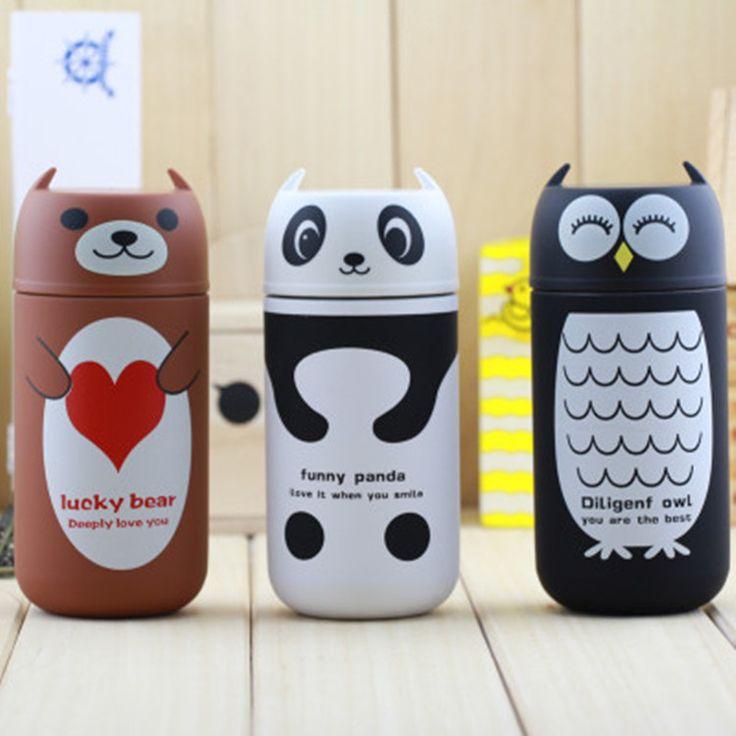 Cute Panda & Owl & Rilakkuma & Pooh thermos 220ml stainless steel portable thermo Mug vacuum flask cup hot water Termos bottle