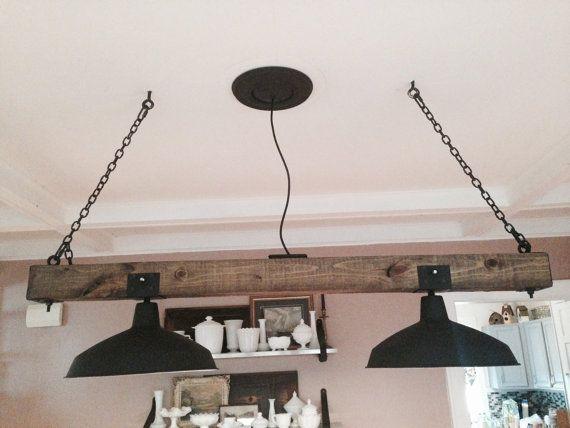 Wooden rustic industrial railroad tie chandelier lighting for Rustic industrial kitchen lighting