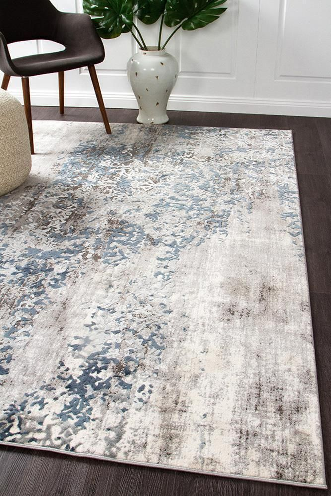 Mist Breeze Distressed Moderner Teppich Blau Grau Weiss