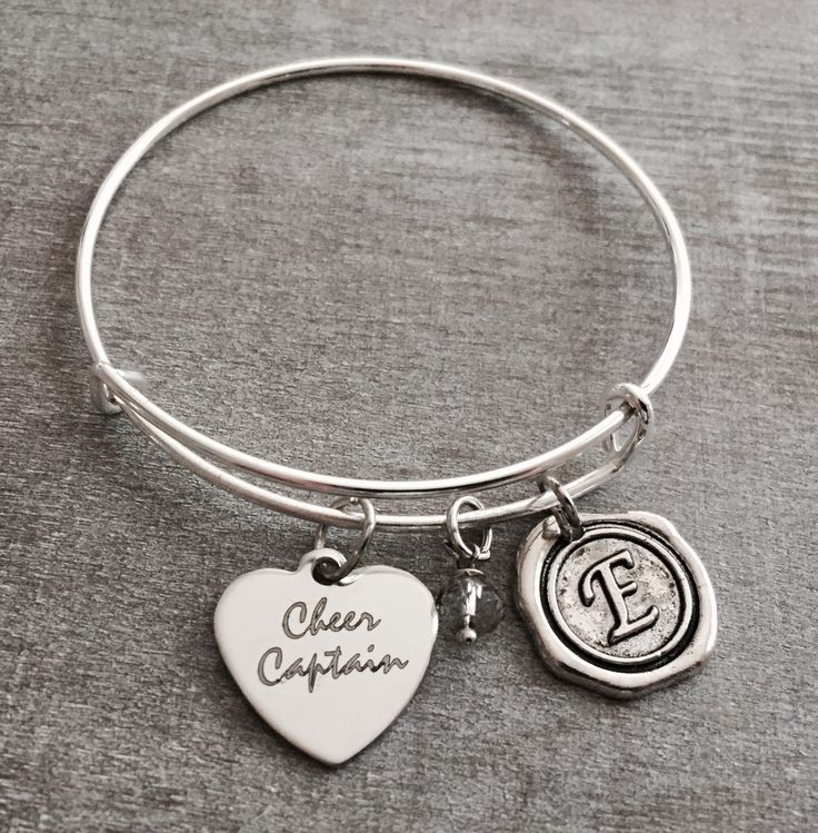 CoCheer Captain, Silver Charm Bracelet, Cheerleader Bracelet, Cheer Bracelet, Cheerleader Jewelry, Cheer Captain Bracelet, Captain, Gifts by SAjolie, $21.75 USD