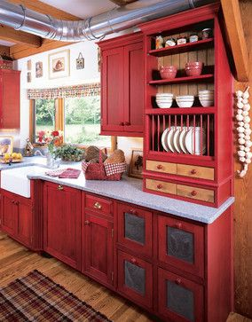 Farmhouse Kitchen Updated in Red