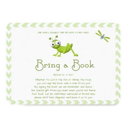 Bring a Book Green Chevron Grasshopper Card - baby shower ideas party babies newborn gifts