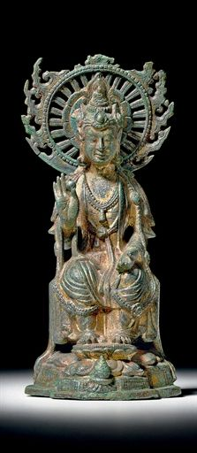 Rare inscribed gilt-bronze figure of Avalokitesvara, Sui Dynasty (581-618). The Sui dynasty (Chinese: 隋朝; pinyin: Suí Cháo) was a short-lived imperial dynasty of China. Preceded by the Southern and Northern Dynasties, it unified China for the first time after over a century of north-south division. It was followed by the Tang dynasty. Founded by Emperor Wen of Sui, the Sui dynasty capital was Chang'an (which was renamed Daxing, 581–605) and the later at Luoyang (605–614).