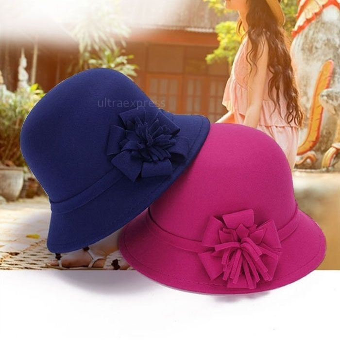 Women Vintage Imitation Wool Flower Felt Hat Winter Cloche Bucket Cap  Fine #UnbrandedGeneric