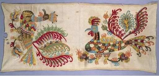 Skyros bird embroidery. Apotropaic talismanic symbolism....fertility and fighting strength for protection. 18-19th C.