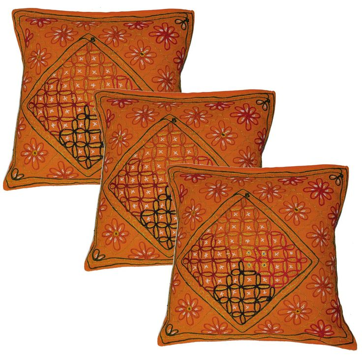 Orange Cotton Pillow Case Cover Set of 3 from India 40.64 cms x 40.64 cms