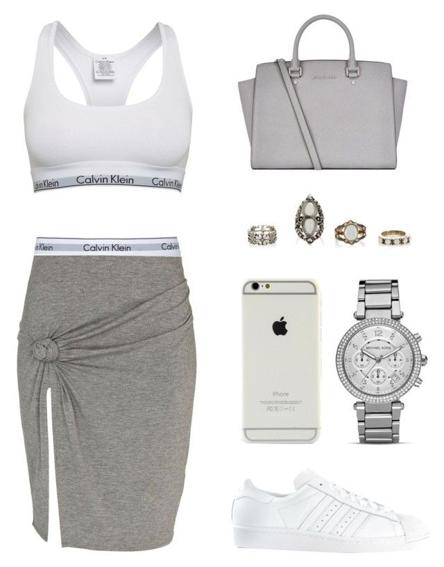 """""""Untitled #414"""" by queenc98 ❤ liked on Polyvore featuring Calvin Klein, River Island, MICHAEL Michael Kors and adidas"""