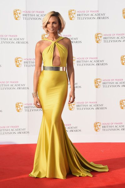 Alesha Dixon Mermaid Gown - Alesha Dixon was a total jaw-dropper at the House of Fraser BAFTA TV Awards in a yellow Michael Costello mermaid gown with a keyhole cutout.
