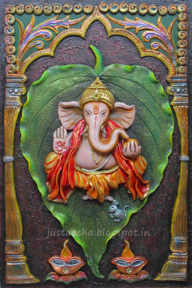 764 best clay art images on pinterest murals mural art for Mural art of ganesha