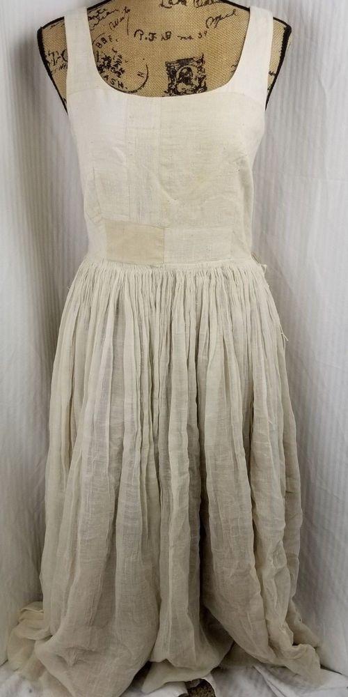 f91a233faa9e DOSA Sleeveless Natural Heirloom 100% Organic Khadi Cotton Dress Reversible  Sz 2 #Dosa #ALineDressFitFlareDressMaxiDress