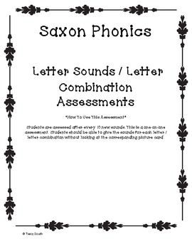 1st Grade Saxon Phonics Sound Assessment. All 92 letter and letter combinations are featured during this assessment. Students are assessed after 10 new sounds are learned and reviewed.