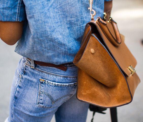Le sac fauve, le meilleur allié du total look jean ! (sac Céline)