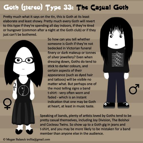 "Goth:  #Signs & #Sorts ~ ""#Goth Type 33: The Casual Goth,"" by Trellia, at deviantART."